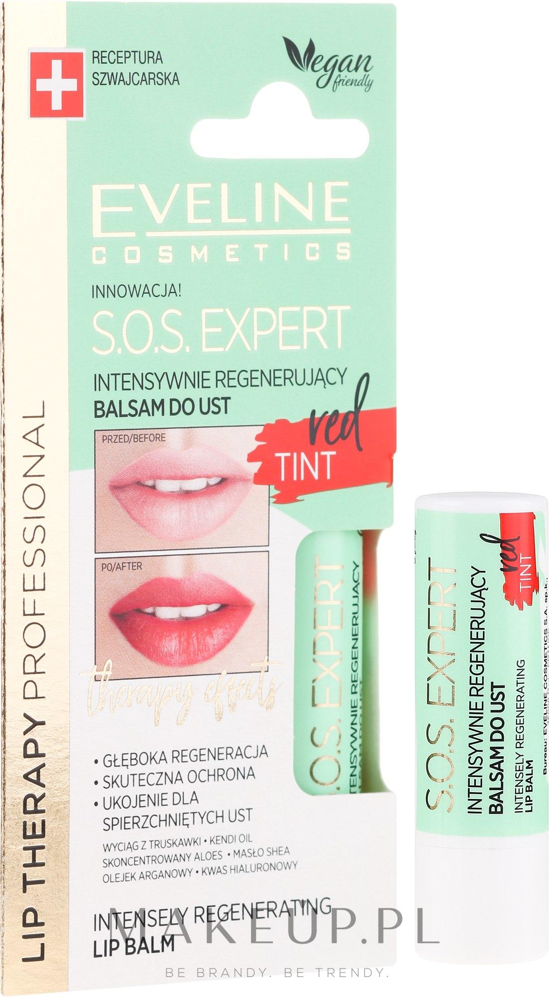 Intensywnie regenerujący balsam do ust Red Tint - Eveline Cosmetics Lip Therapy Professional SOS Expert Lip Balm — фото 3 g