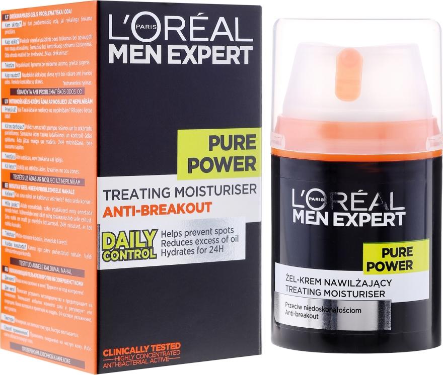 Nawilżający żel-krem dla mężczyzn przeciw niedoskonałościom skóry - L'Oreal Paris Men Expert Pure Power — фото N1