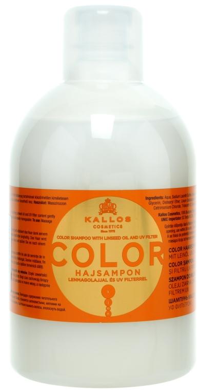 Szampon do włosów farbowanych i suchych - Kallos Cosmetics Color Shampoo With Linseed Oil