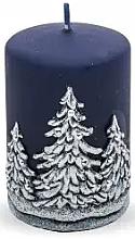 Kup Świeca dekoracyjna, granatowa, choinki, 7 x 10 cm - Artman Christmas Tree Candle