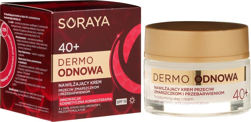 Nawilżający krem przeciw zmarszczkom i przebarwieniom na dzień 40+ SPF 15 - Soraya Dermo Odnowa