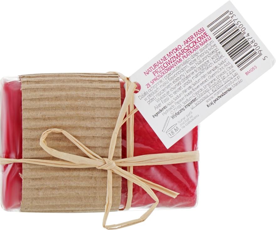 Ręcznie robione naturalne mydło przecizmarszczkowe ze sproszkowanymi płatkami maku Aker Fassi - Beauté Marrakech Natural Argan Handmade Soap — фото N2