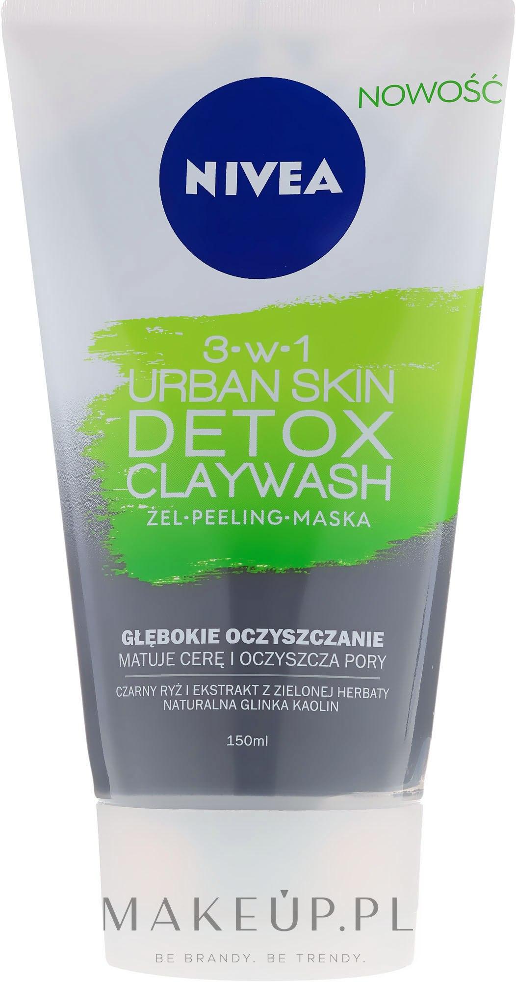 Peelingująca maska do twarzy 3 w 1 - Nivea Urban Skin Detox Claywash 3w1 — фото 150 ml