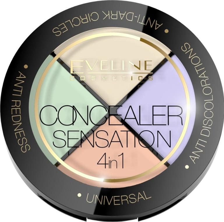 Paletka korektorów do twarzy - Eveline Cosmetics Concealer Sensation 4in1 — фото N1