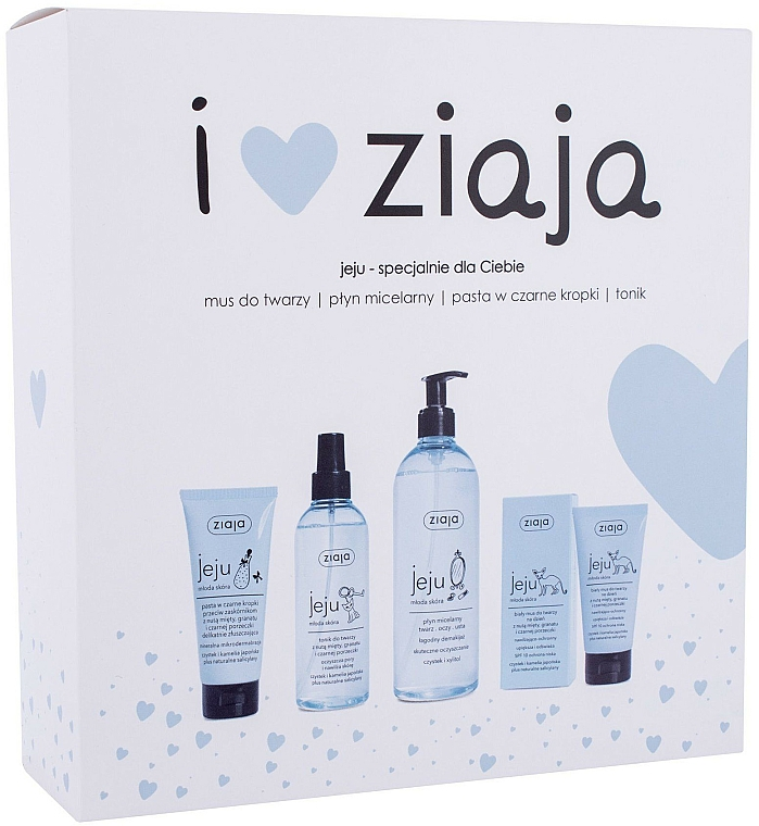 Zestaw - Ziaja I Love Ziaja (f/paste/75ml + f/tonic/200ml + mincellar/water/390ml + f/muss/50ml)