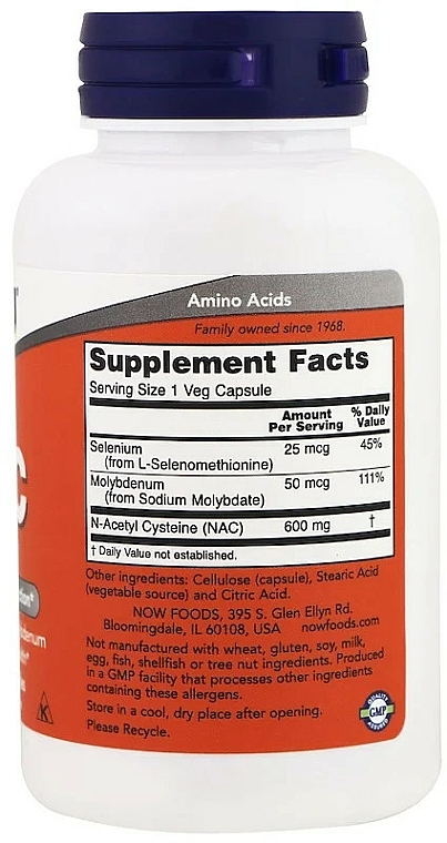 Suplement diety NAC, 600 mg - Now Foods NAC Veg Capsules — фото N2