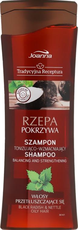 Tonizująco-wzmacniający szampon do włosów przetłuszczających się Rzepa i pokrzywa - Joanna Tradycyjna receptura