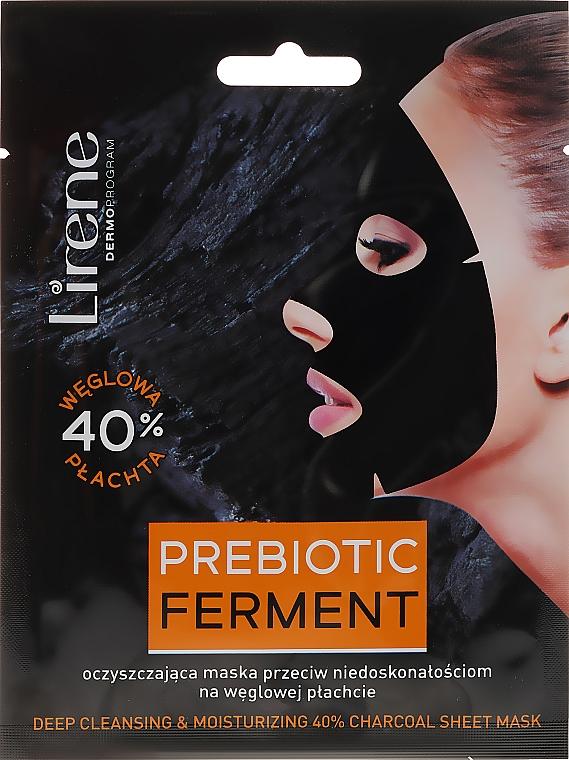 Oczyszczająca maska przeciw niedoskonałościom na węglowej płachcie - Lirene Deep Cleansing and Moisturing 40% Charcoal Sheet Mask