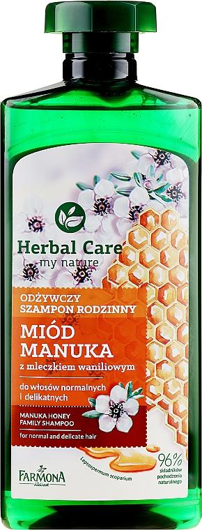 Odżywczy szampon rodzinny Miód manuka z mleczkiem waniliowym - Farmona Herbal Care — фото N1