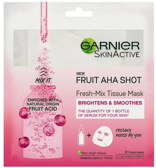 Odświeżająca maska w płachcie do twarzy - Garnier Skin Active New Fruit Aha Shot Fresh Mix Tissue Mask — фото N1
