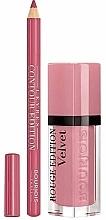 Zestaw - Bourjois Rouge Edition Velvet Lipstick Dont Pink Of It (lipstick/7.7ml + lip/pencil/1.14g) — фото N1