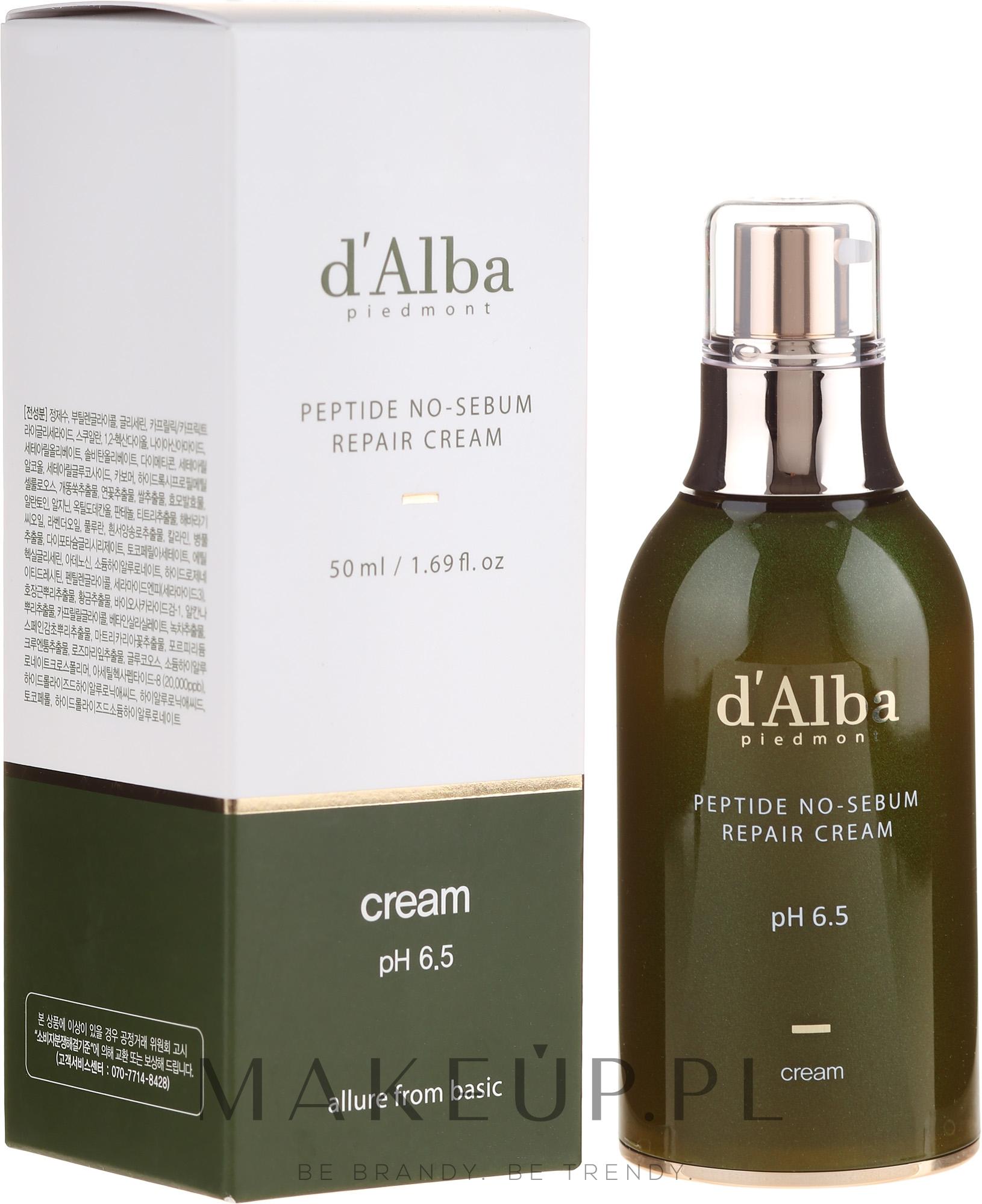 Naprawczy krem peptydowy regulujący wydzielanie sebum - D'Alba Peptide No-Sebum Repair Cream — фото 50 ml