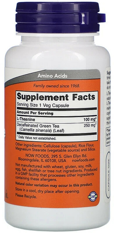 Suplement diety Teina, 100 mg - Now Foods L-Theanine Veg Capsules — фото N2