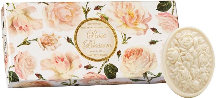 Zestaw mydeł toaletowych Róża - Saponificio Artigianale Fiorentino Rose Blossom (3 x soap 125 g)