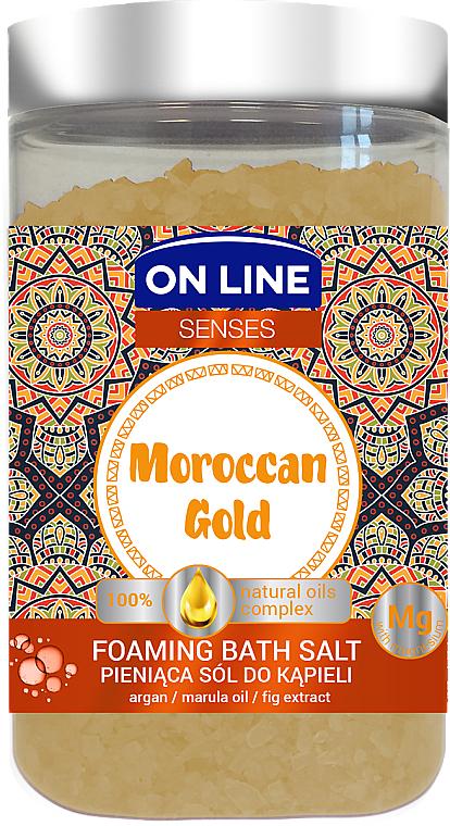 Pieniąca sól do kąpieli z olejami marula i arganowym - On Line Senses Moroccan Gold