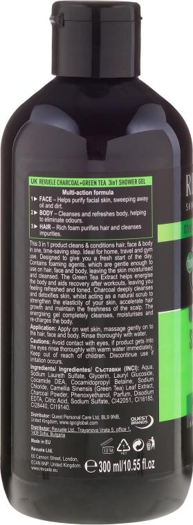 Żel pod prysznic - Revuele Men Charcoal Green & Tea 3in1 Body, Hair & Face Shower Gel — фото N2