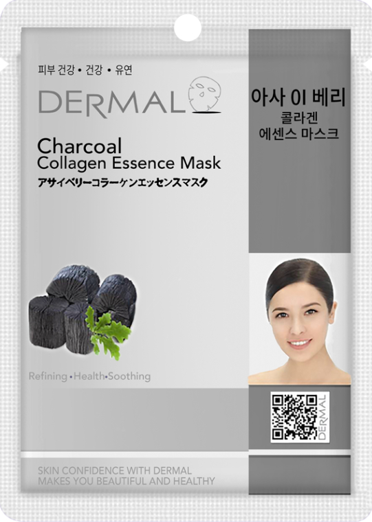 Kolagenowa esencjonalna maseczka do twarzy Węgiel drzewny - Dermal Charcoal Collagen Essence Mask — фото N1