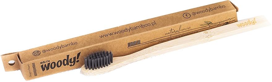 Bambusowa szczoteczka do zębów, miękkie czarne włosie - WoodyBamboo Bamboo Toothbrush Natural  — фото N1