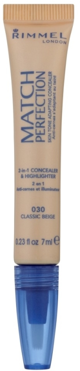 Korektor i rozświetlacz do twarzy 2 w 1 - Rimmel Match Perfection Skin Tone 2in1 Concealer & Highlighter