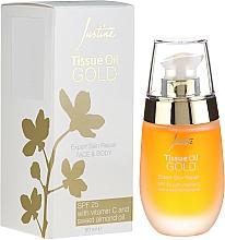 Naprawczy olejek do twarzy z witaminą C i olejem ze słodkich migdałów SPF 25 - Avon Justine Tissue Oil Gold Expert Skin Repair — фото N1