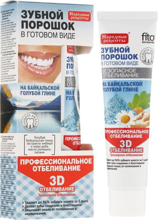 Wybielający proszek dentystyczny do zębów w formie pasty na bajkalskiej glince niebieskiej - Fitokosmetik Przepisy ludowe