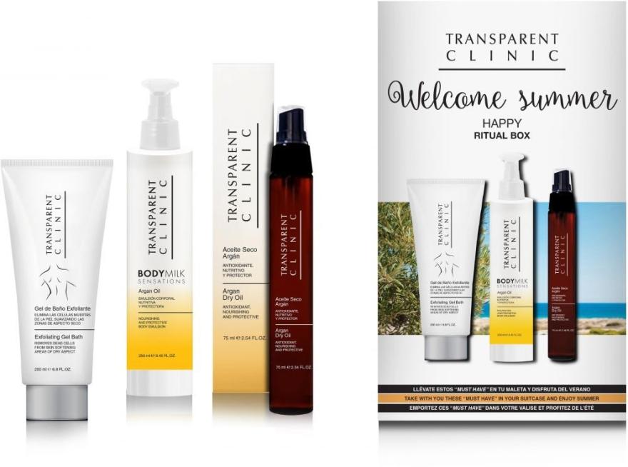 Zestaw - Transparent Clinic Welcome Summer Ritual Box (oil/spray 75 ml + b/milk 250 ml + gel/scrub 200 ml) — фото N1