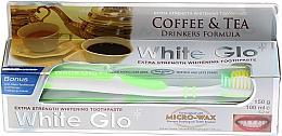 Kup Zestaw dla miłośników kawy i herbaty: wybielająca pasta do zębów + zielona szczoteczka - White Glo Coffee & Tea Drinkers Formula Whitening Toothpaste (t/paste 100 ml + t/brush)