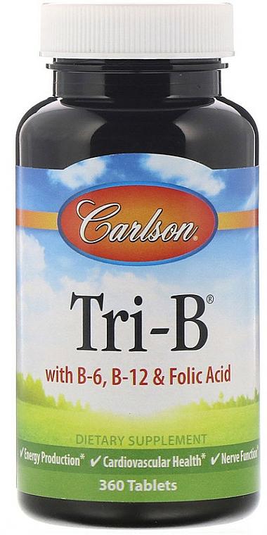 Witamina B6, B12 i kwas foliowy w tabletkach - Carlson Labs Tri-B — фото N1