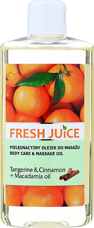 Olejek do pielęgnacji i masażu ciała Mandarynka, cynamon i olej arganowy - Fresh Juice Energy Tangerine&Cinnamon+Macadamia Oil