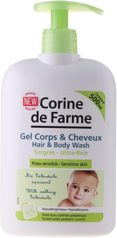 Delikatny żel dla dzieci i niemowląt do mycia włosów i ciała do skóry wrażliwej - Corine De Farme Hair & Body Wash