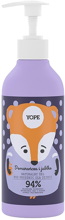 Naturalny żel pod prysznic dla dzieci Pomarańcza i jabłko - Yope