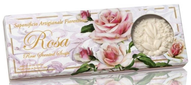 Zestaw naturalnych mydeł w kostce Róża - Saponificio Artigianale Fiorentino Rosa Scented Soaps (3 x soap 125 g) — фото N1