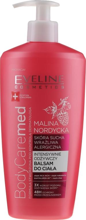 Intensywnie odżywczy balsam do ciała do skóry suchej. wrażliwej i alergicznej Malina nordycka - Eveline Cosmetics Body Caremed Balm