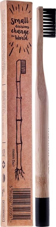 Bambusowa szczoteczka do zębów, średnia twardość, czarna - Mohani Toothbrush