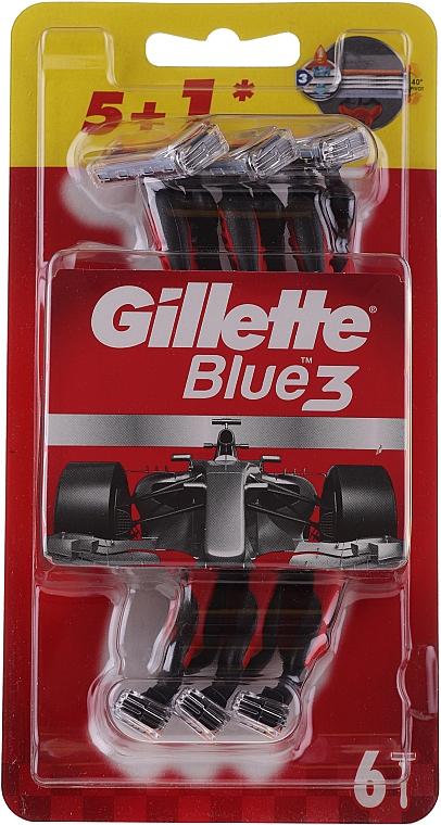 Maszynki do golenia, 5+1 szt. - Gillette Blue III Red and White — фото N1