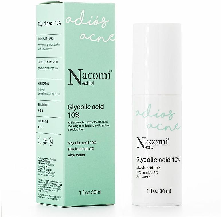 Serum do twarzy na noc z kwasem glikolowym 10% - Nacomi Next Level Glycolic Acid 10%