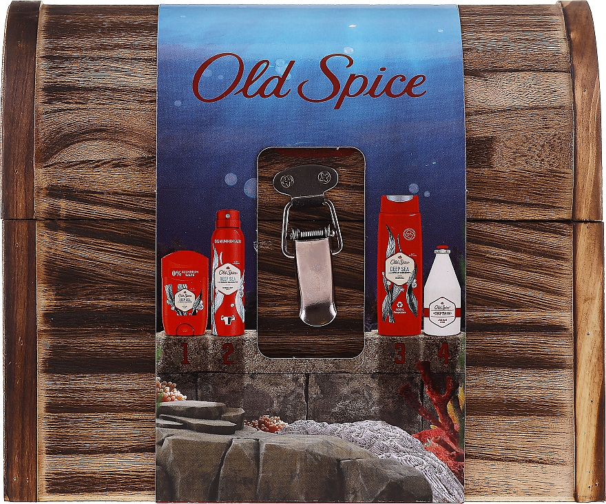 Zestaw - Old Spice Deep Sea Wooden Chest (deo/spray/150ml + deo/50g + sh/gel/250ml + ash/lot/100ml) — фото N1