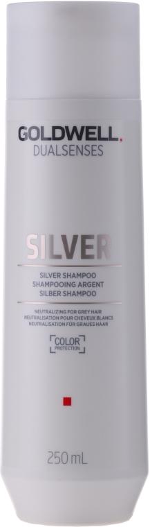 Srebrzysty szampon neutralizujący do włosów siwych lub blond - Goldwell DualSenses Silver Refining Silver Shampoo