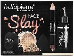 Kup Zestaw do makijażu - Bellapierre Face Slay Kit Dark/Deep (stick/ 8.6 g+powder/ 6.5 g+spray/ 70 ml+sponge/ 1pcs)