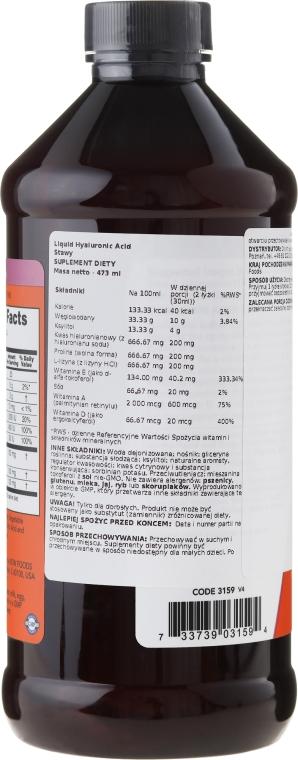 Kwas hialuronowy na prawidłową pracę stawów - Now Foods Liquid Hyaluronic Acid — фото N2