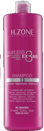 Odmładzający szampon do włosów - H.Zone Ageless Ex3me Anti-Age Illuminante Shampoo — фото N1