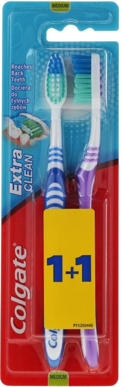 Szczoteczka do zębów Extra Clean, średnia twardość, niebieska + fioletowa - Colgate Extra Clean Medium — фото N1