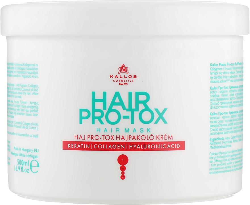 Maska do włosów Keratyna, kolagen i kwas hialuronowy - Kallos Cosmetics Hair Pro-Tox — фото N3