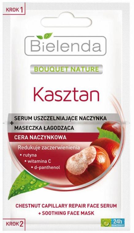 Serum uszczelniające naczynka + maseczka łagodząca do cery naczynkowej - Bielenda Bouquet Nature Kasztan