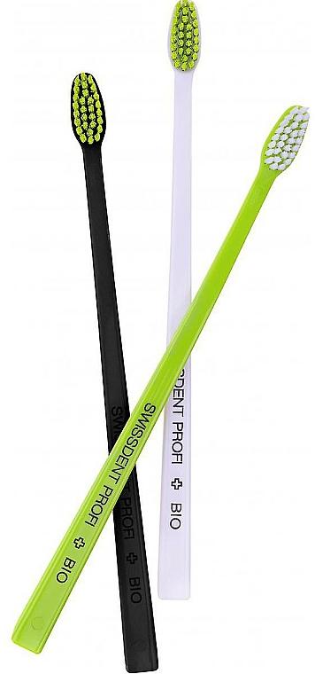 Zestaw szczoteczek do zębów, czarny+biały+zielony - Swissdent Bio Tandborste Triple Pack — фото N1