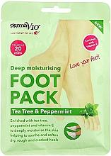 Kup Nawilżająca maska do stóp - Derma V10 Foot Pack Tea Tree&Peppermint Deep Vegan Moisturising Exfoliating
