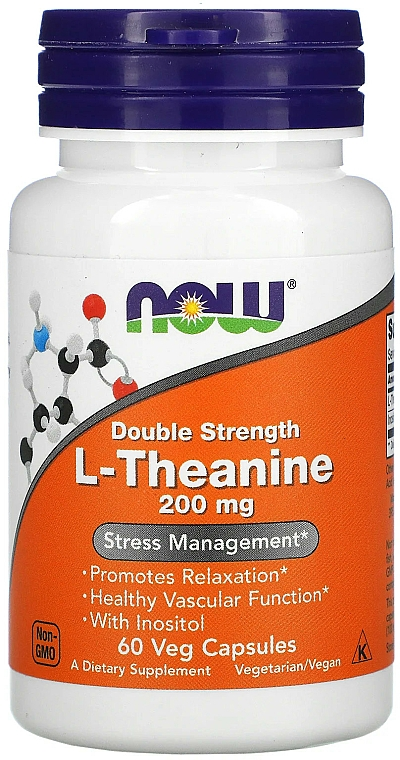 Suplement diety Teina, 200 mg - Now Foods L-Theanine Double Strength Veg Capsules — фото N1