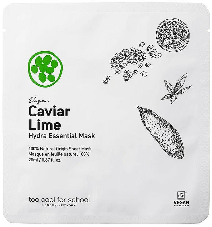 Nawilżająca maseczka w płachcie do twarzy Kawior i limonka - Too Cool For School Caviar Lime Hydra Essential Mask — фото N1