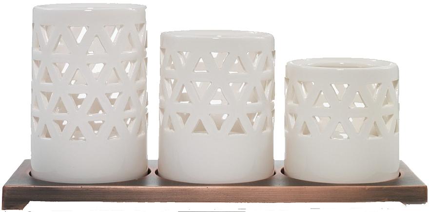 Zestaw trzech świeczników świątecznych - Yankee Candle Belmont Ceramic Multi Tea Light Holder — фото N1