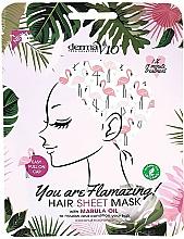 Kup Maska w czepku do włosów z olejem marula - Derma V10 Flamingo Print Hair Mask With Marula Oil